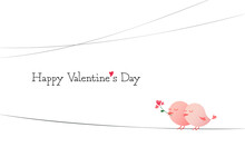 Happy Valentine's Day Illustration With A Bird Couple