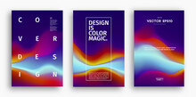 Cover Design Template With Yellow Red Orange Blue Gradient. Wave Vector Illustration. Gradient Mesh Poster Abstract Background. Fluid Banner Design.