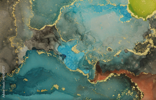 Abstract blue and gold glitter color horizontal background. Marble texture. Alcohol ink.