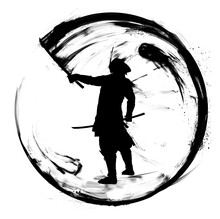 The Black Silhouette Of A Samurai Drawn In Ink, He Outlines A Smooth Circle Of Ink Forming A Yin Yang Symbol, Giving The Order To Attack. 2d Illustration.