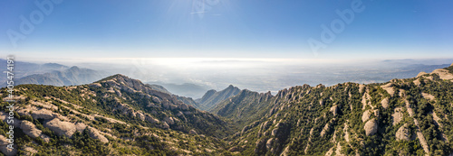 Obraz na plátně Panoramic aerial drone shot view of Montserrat mountain rage in morning near Bar