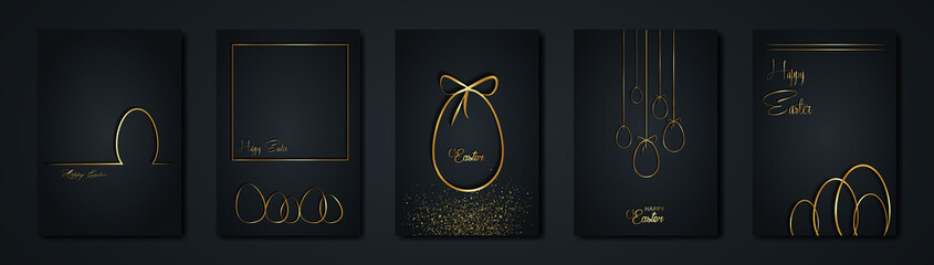 set cards Happy Easter gold texture, golden luxury black modern background. Easter holiday invitations templates collection with hand drawn lettering and gold easter eggs. Vector fashion illustration