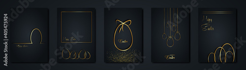 Fotografia set cards Happy Easter gold texture, golden luxury black modern background