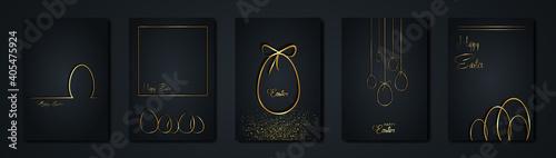 set cards Happy Easter gold texture, golden luxury black modern background Fototapeta