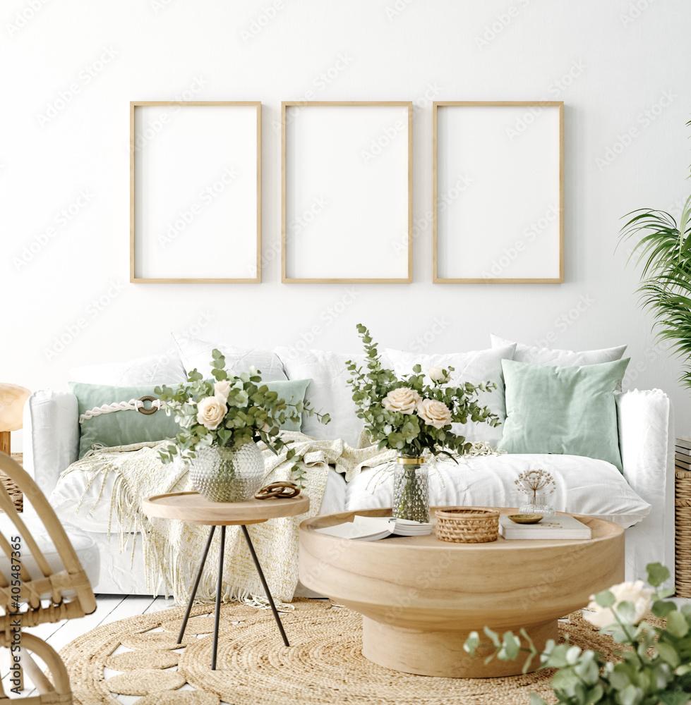 Fototapeta Mockup frame in coastal boho living room interior background, 3d render