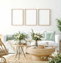 Mockup Frame In Coastal Boho Living Room Interior Background, 3d Render