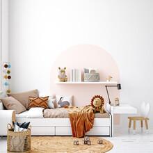 White Cozy Children Room Interior Background, Scandinavian Style, 3D Render
