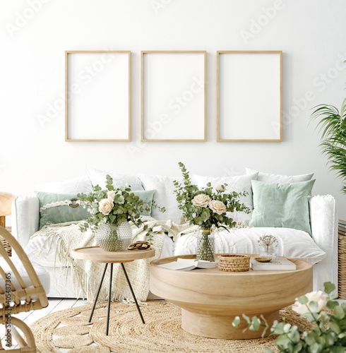 Canvas Print Mockup frame in coastal boho living room interior background, 3d render