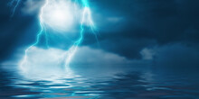 Dramatic Empty Nature Background. Dark Night View Of The City During A Thunderstorm. Flashing Lightning. Reflection Of Light On Water. 3d Illustration