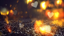 Blurred Abstract Background. Blurred Lights In The Shape Of A Heart, Bokeh. Festive Template For Valentine's Day. The Neon Glow Is Reflected On The Surface. 3d Illustration