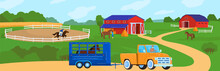 Horses At Horse Farm Country Summer Rural Landscape Vector Illustration. Ranch Field With Fence, Meadow And Horses. Farmland. Horseman On Racehorse And Truck For Moving Animals.