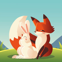 Rabbit And Fox Sitting In The Grass Cartoon Animals