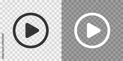 Fototapeta Play button icons on transparent backdrop. Digita webl vector obraz