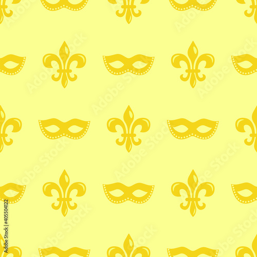 Fototapeta Mardi Gras seamless pattern with carnival masks and heraldic lily; for wrapping paper, greeting cards, invitations, posters, banners