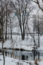 Nature Poster. Winter Forest And River