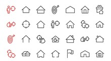 Simple Set Of Color Editable House Icon Templates. Contains Such Icons, Home Calendar, Coffee Shop And Other Vector Signs Isolated On A White Background For Graphic And Web Design