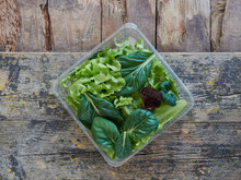 Assorted Lettuce And Vegetable Leaves On A Salad To Take Away On A Square Plastic Packaging On A Wooden Surface, Top View