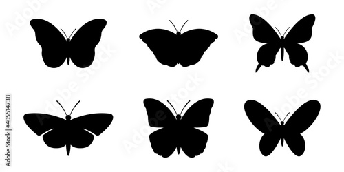 Foto Set of silhouettes of butterflies, vector illustration