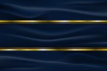 Luxury Line Golden Border On Fabric Crumple With Dark Blue Stripe Background. Vector Illustration