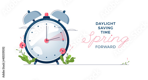 Obraz Daylight Saving Time banner. The clocks moves forward one hour. Floral decoration with pink flowers. Spring clock changes concept for web, emailing. Modern flat design, cartoon vector illustration - fototapety do salonu