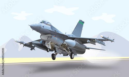 Fotografía Fighter Jet Illustration