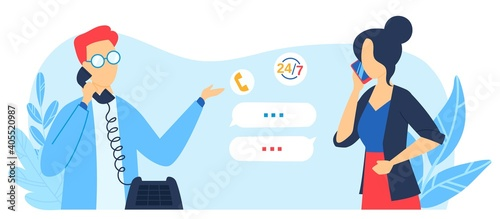 Tela Customer support service, fix maintenance, contact us help desk vector illustration