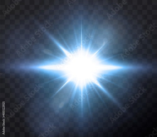 Fototapety, obrazy: Shining neon stars isolated on black background. Effects, lens flare, shine, explosion, neon light, set. Shining stars, beautiful blue rays. Vector illustration.