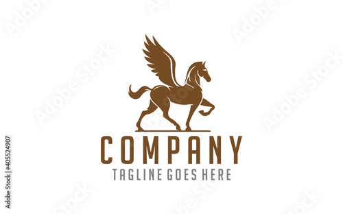 Fotografia silhouette pegasus mythical creature horse with wings Usable For Business, Community, Industrial, Foundation, Security, Tech, Services Company