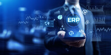 ERP Enterprise Resource Planning Business Internet Technology Concept.