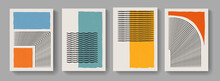 Collection Of Abstract Minimalist Posters. Mid-century Concept Art. Modern Mobochrome Posters. Illustration For Covers, Banners, Brochures And Postcards.