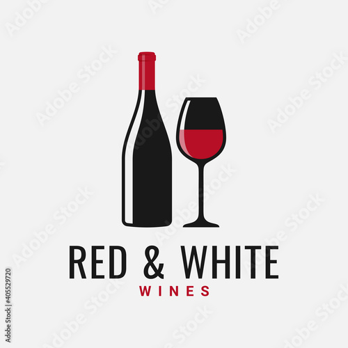 Fotomural Wine bottle and glass logo. Red and white wine