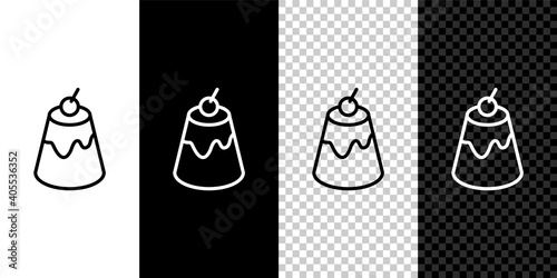 Fotografia Set line Pudding custard with caramel glaze icon isolated on black and white,transparent background