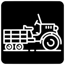 Walk Behind Tractor Icon Outline Style Vector Outline, Black, Tractor, Icon, Design, Vector, Isolated, Logo, Construction, Shovel, Machinery, Dig