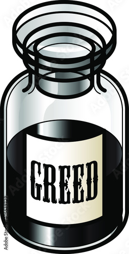 Fotografie, Obraz A reagent bottle of Greed
