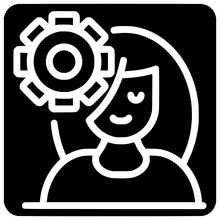 Woman And Gear Icon Outline Style Vector Woman, Outline, White, Black, Icon, Gear, Vector, Design, Isolated, Person, People, Industrial