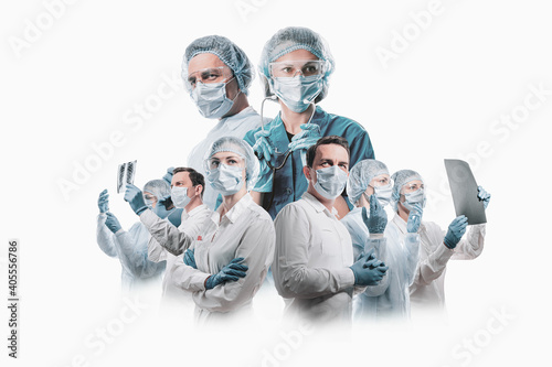 Fototapeta team of doctors men and women fighting diseases and viruses