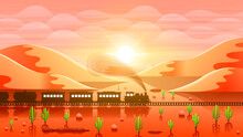 Abstract Sky Desert Background With Sand Mountains Clouds Cactus Train And Sun Vector Design Style Nature Landscape