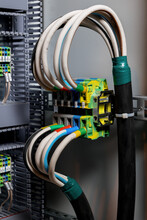 Connections Of Colored Wires In The Electrical Cabinet. Automatic Control Systems For Electricity. Insulation With Heat Shrink Tubing.