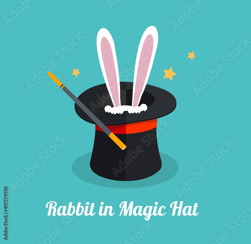 Leinwand Poster Vector rabbit in magic hat