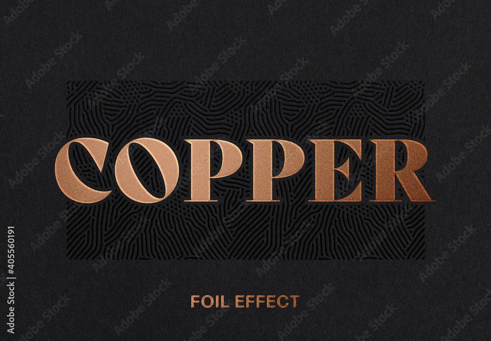 Fototapeta Copper Foil Text Effect Logo Mockup