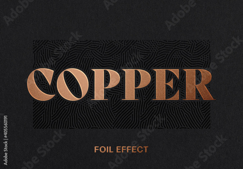 Obraz Copper Foil Text Effect Logo Mockup - fototapety do salonu