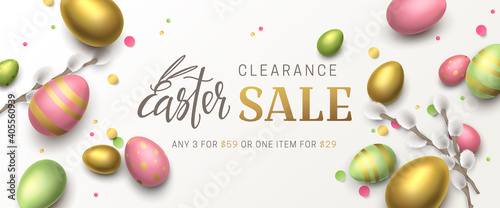 Fototapeta Vector elegant sale banner with confetti, 3d pussy willow, realistic gold, green, pink eggs and lettering Easter. Festive horizontal background with place for text for flyer with discount offers. obraz