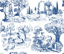 Seamless Provence Pattern. Toile De Jouy Hand Drawn Illustration. Nature Old French Style.