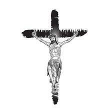 Jesus On Cross Painted With Ink Brush. Son Of God Jesus Christ From Mount Golgotha. Hand Drawn Art Sketch. Vector.