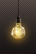 Vintage Light Bulb Hanging On Filament. Retro Decor Design Vector Illustration. Antique Yellow Glowing Lantern In Glass With String From Ceiling On Transparent Background