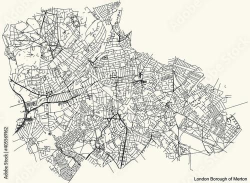 Fotografia Black simple detailed street roads map on vintage beige background of the neighb