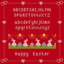 Happy Easter Red Background With Font And Rabbits. Knit Seamles Pattern With Easter Bunnies And Eggs In Grass. Vector Illustration. Sweater Knitted Texture.