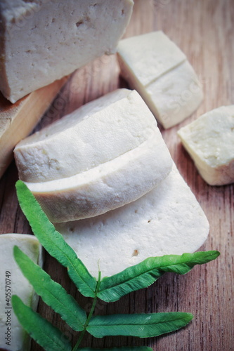High Angle View Of Tofu On Cutting Board