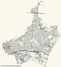 Black Simple Detailed Street Roads Map On Vintage Beige Background Of The Neighbourhood London Borough Of Barking And Dagenham, England, United Kingdom