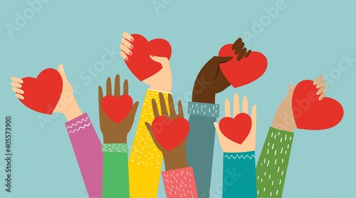 Fotomural Hands with hearts. Vector illustration.